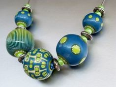 blue beads necklace, POLYMER CLAY, MASA FLEXIBLE, PASTA FRANCESA, COLD PORCELAIN, CERNIT, PORCELANA FRIA, PASTA FLEXIBLE, BISCUIT, FIMO