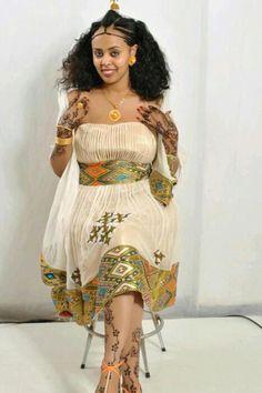 Beautiful pattern/tibeb habesha dress, hand embroidered.