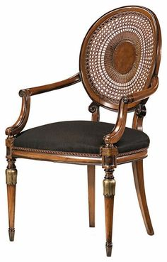 Louis XVI style beechwood armchair with hand-caned back, hand-rubbed antiqued walnut finish, antiqued silverleaf accents and black muslin upholstery Old Chairs, Antique Chairs, Cafe Chairs, Dining Chairs, Folding Chairs, White Chairs, French Furniture, Classic Furniture, Furniture Styles