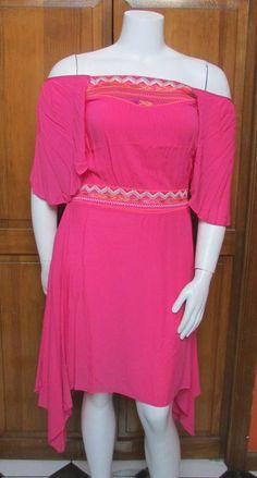 Vertigo Pink Off the Shoulder Asymmetrical Dress NWT MSRP $260 SZ XL #Vertigo #AsymmetricalHem #SummerBeach