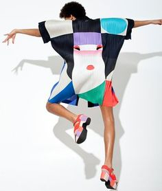 At 77, Issey Miyake is still at the cutting edge of design.A multi-coloured square-shaped Issey Miyake top on a dancing woman