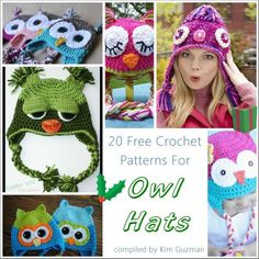 20 Free Crochet Patterns for Owl Hats http://kimguzman.com/blog/link-blast-20-free-crochet-patterns-for-owl-hat/