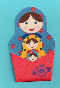 The Papercraft Post: Russian Doll Pockets: Print-and-Cut! Origami, Diy Paper, Paper Crafts, Paper Pocket, World Crafts, Matryoshka Doll, Craft Free, Thinking Day, Russian Art