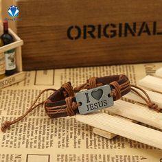 Punk Jewelry Wrap Leather I Love Jesus Charm Bracelet & Bangle Wristband Cuff 1.2*17Cm