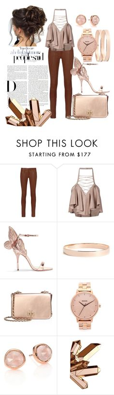 """""""Rose Gold"""" by rebel-coated ❤ liked on Polyvore featuring rag & bone, Balmain, Sophia Webster, Lana Jewelry, Tory Burch, Nixon and Monica Vinader"""
