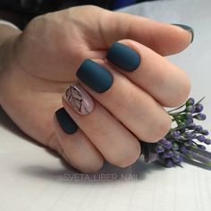 Красивые ногти. Маникюр. DivaNail Blue Nails, Matte Nails, Hair And Nails, My Nails, Nail Manicure, Nail Polish, Nagellack Trends, Stylish Nails, Nail Decorations