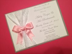 Pink, Grey and White Lace Bridal Shower Invitations on etsy - Southern Rose Designs