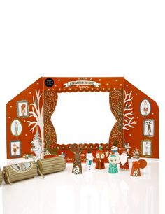 6 Kids Christmas Crackers with Crimbleberry Wood Finger-Puppets & Theatre-Marks & Spencer