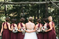 Burgundy Bridesmaids Dressed With Open Back | It Was Always You | Keri and Jarrett Tie the Knot at Castleton Farms with photos by Leah Bullard Photography | The Pink Bride®️ www.thepinkbride.com