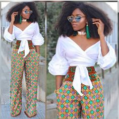 Ankara tops for ladies is a classic outfit to make your figure look just great! African Print Pants, African Print Dresses, African Fashion Dresses, African Dress, Fashion Outfits, Ankara Fashion, Fashion Women, African Attire, African Wear