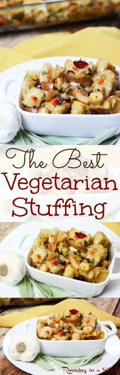 The Best Vegetarian Stuffing recipe for Thanksgiving or Christmas! A tried and true family favorite. Packed with vegetables, dried cranberries, bread and savory spices this meatless stuffing is perfection for the holidays. / Running in a Skirt Vegetarian Stuffing Recipe, Stuffing Recipes For Thanksgiving, Vegetarian Entrees, Thanksgiving Food, Fall Food, Vegan Vegetarian, Low Carb Dinner Recipes, Clean Eating Recipes, Eating Healthy