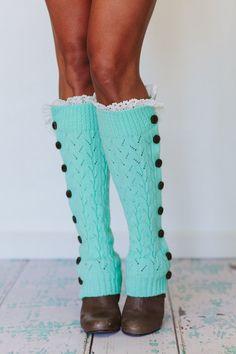 Mint Knitted Leg Warmers Boot Topper Crochet Lace by ThreeBirdNest
