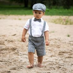 Ring bearer newsboy outfit Baby boy linen suit Wedding boy formal outfits Shorts Suspenders Newsboy hat Baby boy photo prop Page boy outfit - Formal boys outfit - Kids Style Costume En Lin, Costume Garçon, Linen Wedding Suit, Wedding Suits, Wedding Wear, Baby Boy Fashion, Kids Fashion, Punk Fashion, Lolita Fashion