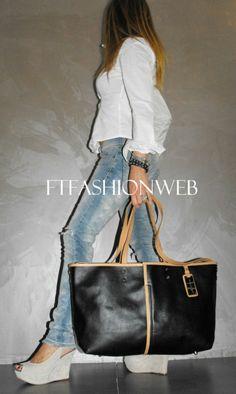 Borsa donna Shopping a mano spalla e tracolla NERO New 2012 bags Ftfashionweb   eBay