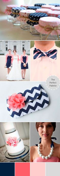 wedding palette navy blue coral
