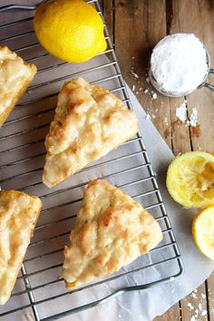 I've been baking biscuits since I was just a little girl so they're not much of a challenge. Scones are lots more fun to make! Lemon cream scones are light, luscious, and so delectable. Lemon Desserts, Lemon Recipes, Baking Recipes, Delicious Desserts, Yummy Food, Scone Recipes, Cookie Recipes, Brunch Recipes, Breakfast Recipes