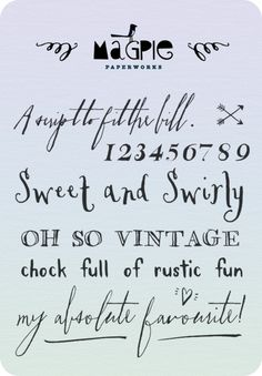 http://www.danellebourgeois.com/blog/2012/font-love-magpie-paper-works  The 'a script to fit the bill' font just saying Semper ti on left shoulder outside