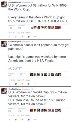 """""""Women's soccer isn't popular, so they get paid less. Women got much better result, much more TV audience, still get paid 4 times less. Mens World Cup, Fiscal Year, All That Matters, Intersectional Feminism, Patriarchy, Equal Rights, My Tumblr, Faith In Humanity, Fight Club"""