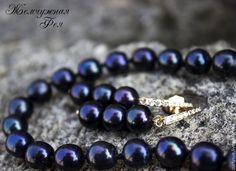 """Купить Серьги жемчуг с позолотой """" Black Passion """" - черный, жемчуг натуральный, жемчуг"""