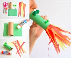This fire breathing, toilet paper roll dragon is SO MUCH FUN! Blow into the end, and it looks like flames are coming out of the dragon& mouth! Such a cute craft idea for a rainy day! New Year's Crafts, Easy Crafts For Kids, Cute Crafts, Toddler Crafts, Crafts To Do, Diy For Kids, Children Crafts, Craft Kids, Party Crafts