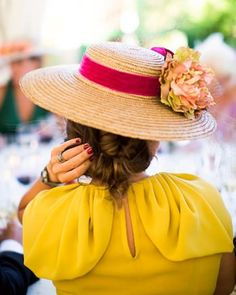 Shoulders on dress. Yellow Clothes, Wedding Guest Looks, Fascinator Hats, Fascinators, Headpieces, She's A Lady, Wearing A Hat, Yellow Fashion, Summer Hats