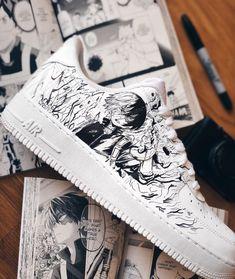 A quoi ressemble la Nike Air Force 1 Low My Hero Academia ? Custom Sneakers, Custom Shoes, Custom Clothes, K Fashion, Sanrio Hello Kitty, Naruto Shoes, Zapatillas Nike Air Force, Custom Air Force 1, Nike Shoes Air Force