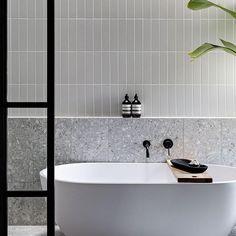 Bathroom Renos, Laundry In Bathroom, Bathroom Flooring, Bathroom Renovations, Bathroom Design Luxury, Modern Bathroom, Small Bathroom, Grey Bathroom Tiles, Grey Subway Tiles