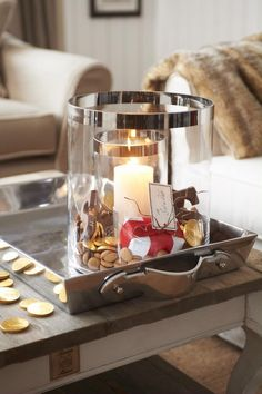Pinned for the layered idea..a smaller inside of a larger with a candle and you could use ANYTHING in between.. using Riviera Maison items