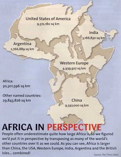 Africa in perspective: People often underestimaete quite how large Africa is, so we figured we'd put it in perspective by transposing as many of the world's other countries over it as we could.