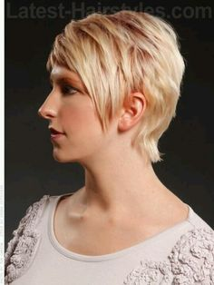 Cotton candy pixie cut - profile. Love the cut over the ears!
