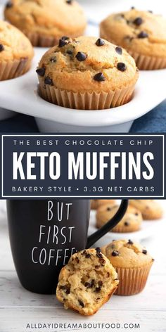 These bakery-style keto chocolate chip muffins are big and beautiful, and absolutely delicious. Who knew that almond flour muffins could be this light and fluffy? Keto Chocolate Chips, Chocolate Chip Muffins, Chocolate Cakes, Keto Cupcakes, Keto Cake, Low Carb Sweets, Low Carb Desserts, Low Carb Bread, Low Carb Keto