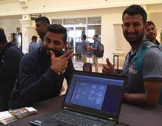 #TeamIndia #WIvsIND  Ravindra Jadeja and Cheteshwar Pujara after landing in West Indies - http://ift.tt/1ZZ3e4d