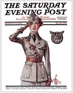 "August 17, 1918, ""Ready to Serve"", J.C. Leyendecker..... Jc Leyendecker, Norman Rockwell Art, Arrow Shirts, Saturday Evening Post, American Illustration, Military Art, Vintage Magazines, Fashion Art, Illustrators"