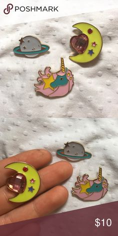 Set of 3 Enamel Pins New Set of 3 cute tumblr and kawaii Enamel Pins. Perfect for backpacks clothes denim etc. Free shipping on Mercari! Brandy Melville Accessories