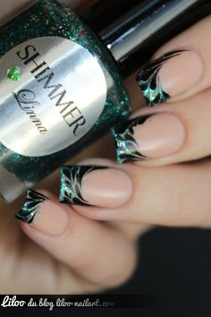Green glitter french manicure with black ornamental nail art ♥