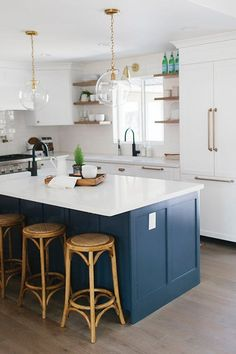 Break Out the Paint: Blue Kitchens Are Très Chic Right Now via @PureWow