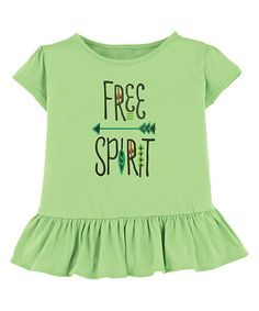 Another great find on #zulily! Lime 'Free Spirit' Ruffle Tee - Toddler & Girls #zulilyfinds