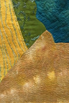 close up, The Pond by Quinn Zander Corum ~ Quilts/Fiber