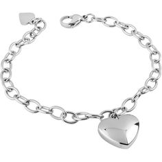 West Coast Jewelry Women's Stainless Steel High Polished Heart Charm... ($17) ❤ liked on Polyvore featuring jewelry, pendants, silver, lobster claw clasp charms, chain bracelet, bracelet charms, heart charms i wide silver bracelet
