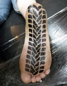 Amanda Zitos fresh tire tread foot tattoo done by Jacob at Dark Star tattoo in Vancouver WA. Another rad motolady Pacific Northwesterner! [ more motorcycle tattoos Dirt Bike Tattoo, Motocross Tattoo, Bike Tattoos, Motorcycle Tattoos, Dark Star Tattoo, Star Tattoos, Tribal Tattoos, Future Tattoos, Tattoos For Guys