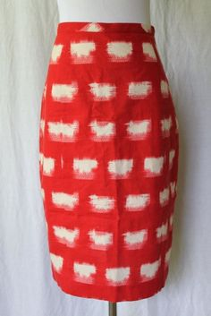 Corey Lynn Calter for Anthropologie ACKEE Red and white Linen Pencil Skirt 0 NEW #CoreyLynnCalter #StraightPencil