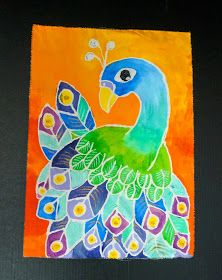 week 15 spring 2016 that artist woman: Peacock Batiks and Journal Pages The artistwoman has amazingly beautiful art projects for children with great instructions. Classroom Art Projects, School Art Projects, Art Classroom, Spring Art Projects, 3rd Grade Art Lesson, 4th Grade Art, Grade 3, Art Lessons For Kids, Art Lessons Elementary