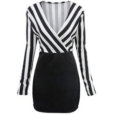 Black White Striped Color Block Surplice Bodycon Dress (20.085 CRC) ❤ liked on Polyvore featuring dresses, платья, stripe dresses, black white stripe dress, black and white dresses, body con dress and long sleeve day dresses