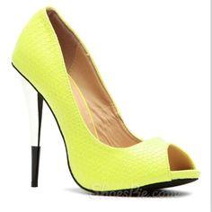 hotness and more Gorgeous Yellow Stiletto Peep-Toe Heels