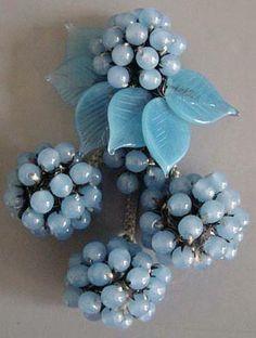 Miriam Haskell - Parure - Métal Doré et Perles Bleu Ciel - Années 30