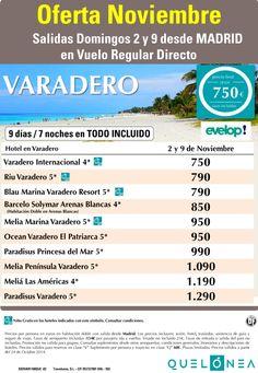 Oferta Noviembre a Varadero desde 750€. Salidas 2 y 9 Noviembre desde Mad con EVELOP! ultimo minuto - http://zocotours.com/oferta-noviembre-a-varadero-desde-750e-salidas-2-y-9-noviembre-desde-mad-con-evelop-ultimo-minuto/
