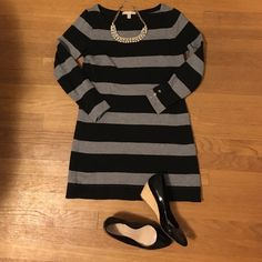 Banana Republic Striped Tunic Dress Classy striped mini dress or tunic. Great layered with leggings or tights and boots. Only worn a handful of times. Great condition. No imperfections. Banana Republic Dresses Mini