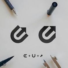 C + U + Arrow logo design. Which variation do you prefer? Gfx Design, Graphic Design, Logo Branding, Branding Design, U Logo, Unity Logo, Logo Software, Logo Process, Arrow Logo