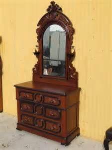 Antique Eastlake Dresser Ornate Solid Walnut Wood Marble Top