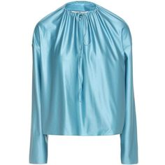 Balenciaga Satin Blouse (49.555 RUB) ❤ liked on Polyvore featuring tops, blouses, blue, blue top, blue satin blouse, satin blouse, blue satin top and balenciaga
